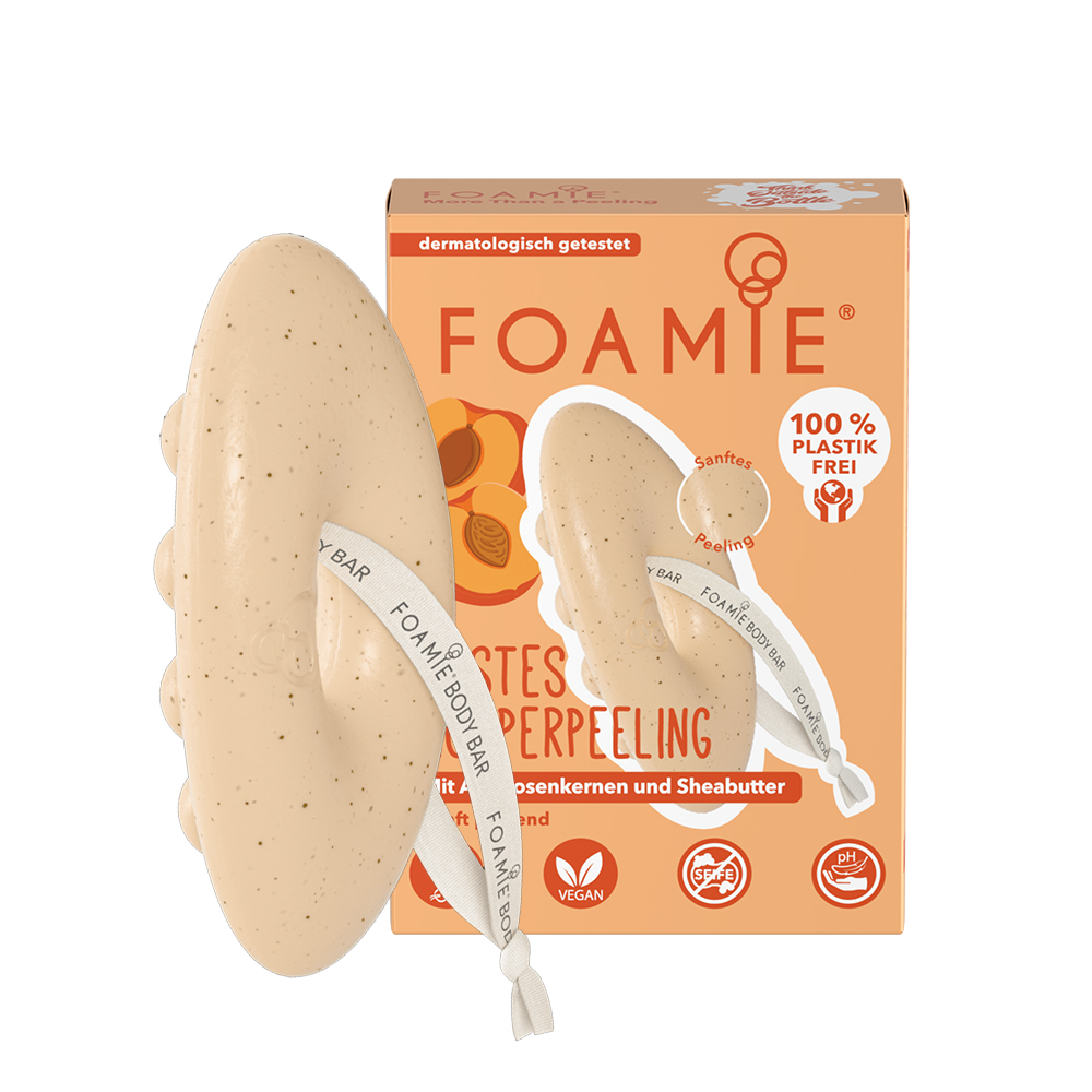 New Foamie Exfoliating Shower Bar with Shea Butter and Apricot Seeds 80g