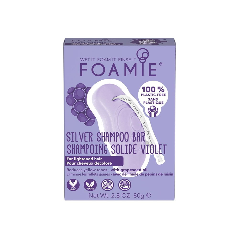 Foamie Shampoo Bar - Violet For Lightened/Blonde Hair - with grapeseed oil 80g