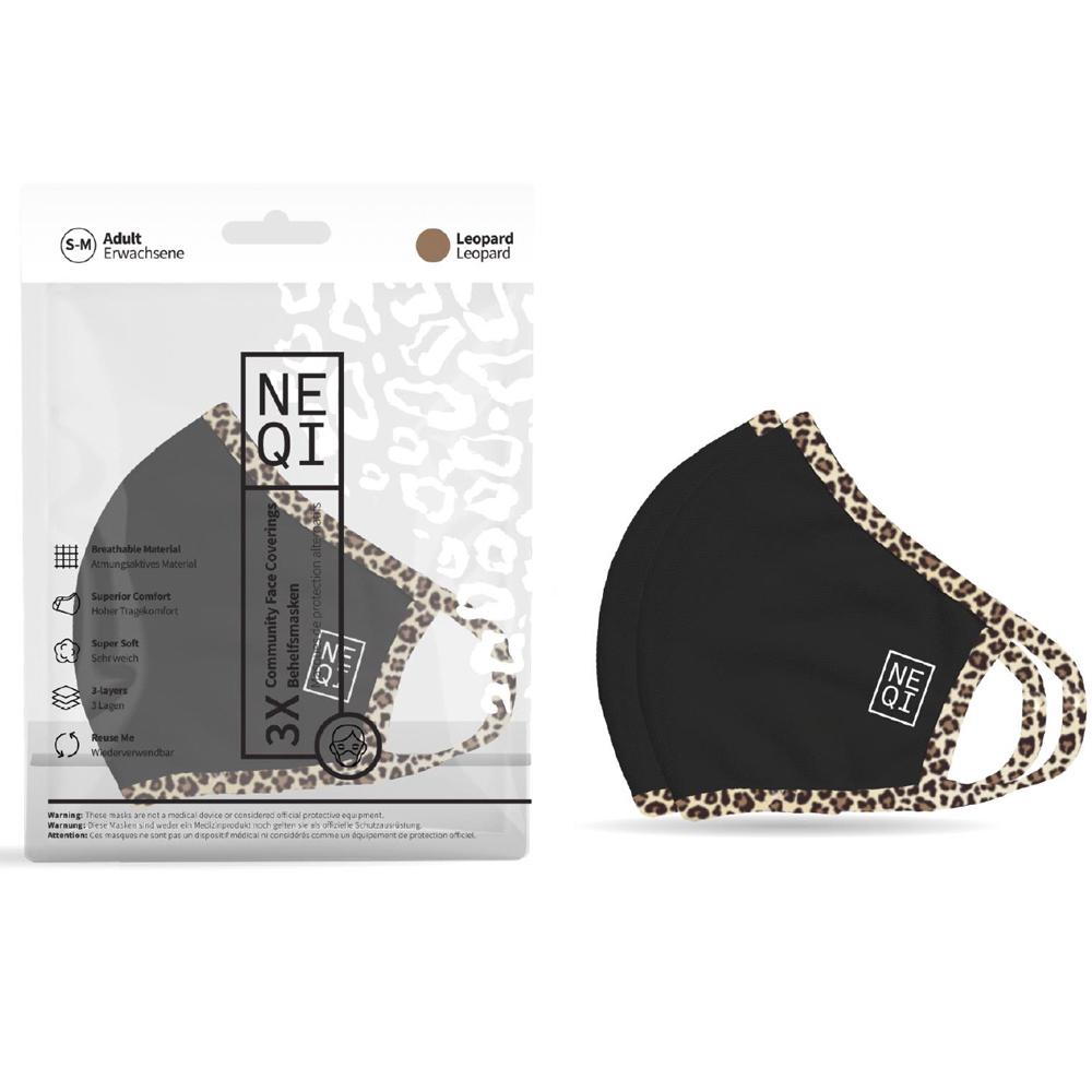 NEQI Face Coverings Black with Leopard Trim S-M (3pk)