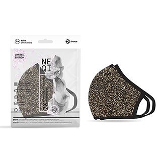 NEQI Face Coverings Black with Bronze Sparkle S-M (2 PK)