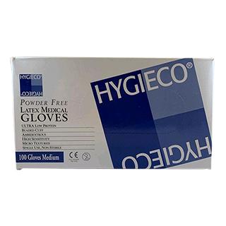 Hygieco Powder Free White Latex Gloves Medium