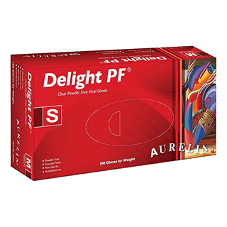 Aurelia Delight Clear P/F Vinyl Gloves Small (100)